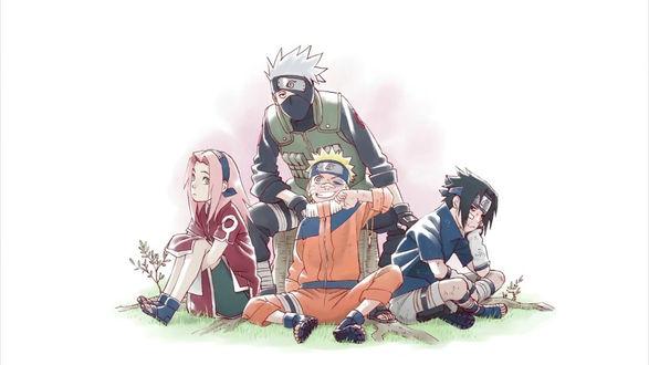 Обои Uchiha Sasuke / Учиха Саске, Sakura Haruno / Сакура Харуно, Naruto Uzumaki в детстве и Hatake kakashi из аниме Наруто / Naruto, by Masashi Kishimoto