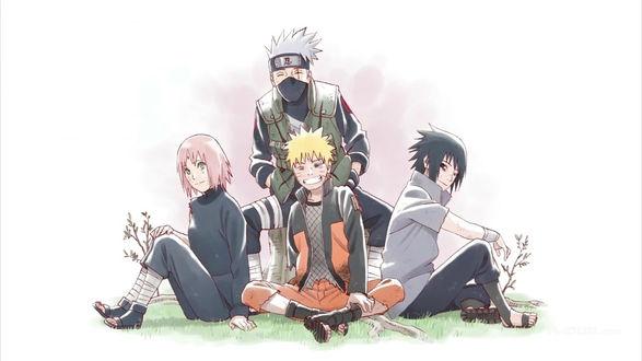 Обои Uchiha Sasuke / Учиха Саске, Sakura Haruno / Сакура Харуно, Naruto Uzumaki и Hatake kakashi из аниме Наруто / Naruto, by Masashi Kishimoto