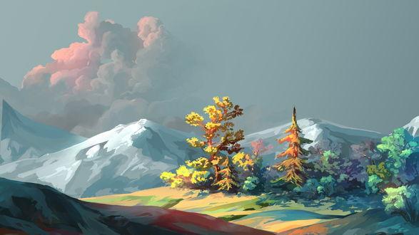 Обои Окраина леса на фоне гор, автор MasterTeacher