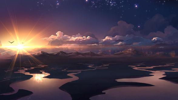 Обои Горы в дали на закате, автор MasterTeacher