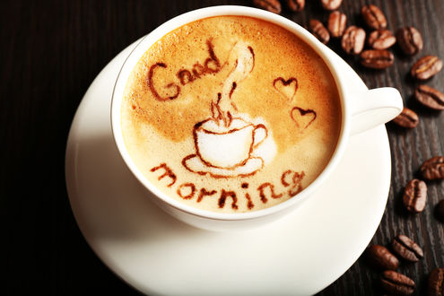 Обои Кружка кофе на блюдце (Доброе утро / Good morning)