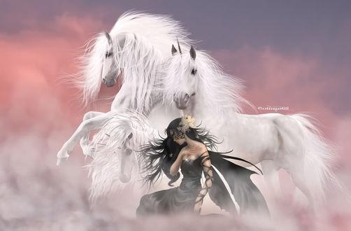 Обои Девушка с разукрашенным лицом и черным крылом с рядом стоящими белыми красивыми лошадьми, by gotman68