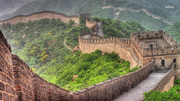Обои Горный хребет. Большая Китайская стена
