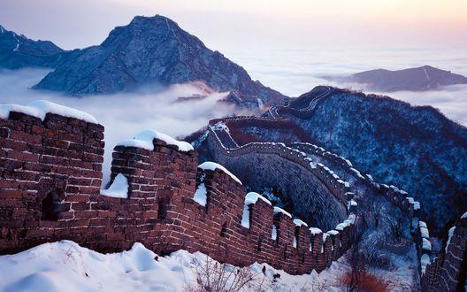 Обои Горы. Снег. Большая Китайская стена
