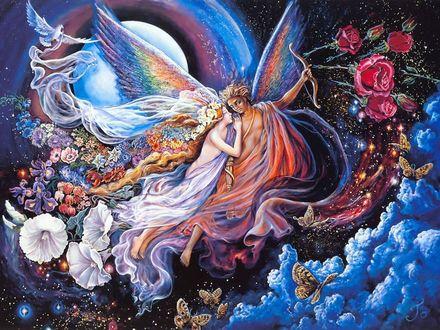 Обои Влюбленные парят в небе в окружении цветов, художница Josephine Wall / Жозефина Уолл