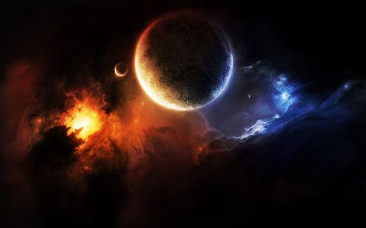 Обои Космическое пространство с планетами, солнцем, звездами