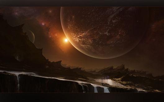 Обои В космосе неизвестные планеты, звезды почти соприкасаются с другой планетой, на которой горы, течет вода, значит будет жизнь