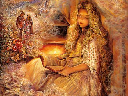 Обои Уснувшая девушка с книгой в руке, художница Josephine Wall / Жозефина Уолл
