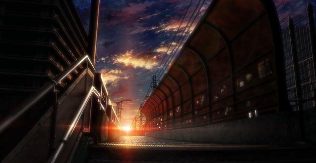 Обои Линии электропередач на заборе, вид с лестницы на закат, автор Tokuninashi