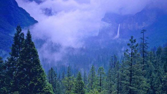 Обои Водопад Брайдлвейл / Bridalveil Fall в затуманенных горах Йосемитского национального парка, штат Калифорния, США / Yosemite National Park, California, USA