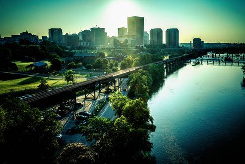 Обои Городской пейзаж. Природа. Мост. Утро