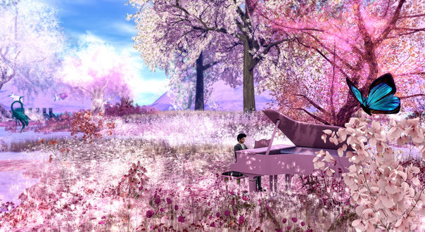 Обои Парень за роялем в окружении цветущей весенней природы, by Strawberry Singh