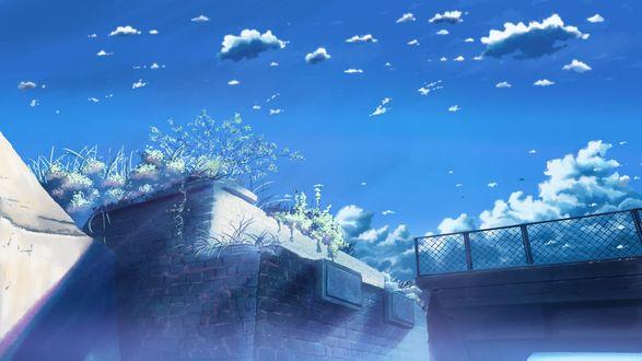 Обои Небольшие облака на небе над ограждением
