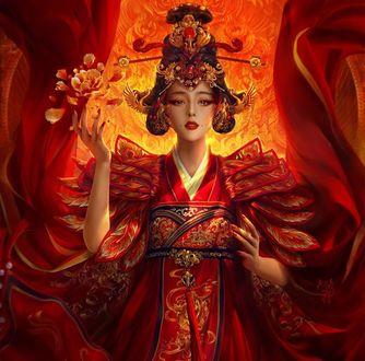 Обои Девушка китаянка, в красном одеянии, с украшениями, by XZFSHAO