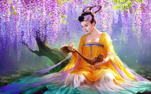 Обои Девушка в разноцветном платье, сидит на земле, под свисающими цветущими над ней ветками, by XZFSHAO