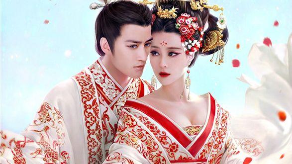 Обои Девушка и парень в белой одежде, с красным и золотым орнаментом, by XZFSHAO