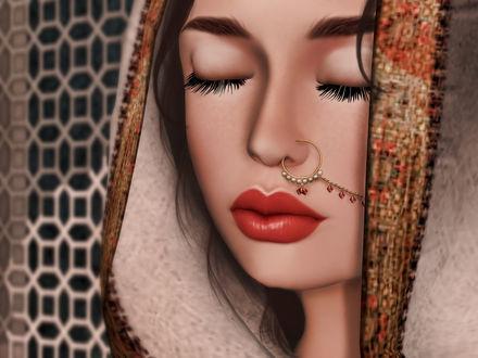 Обои Девушка с восточными украшениями и закрытыми глазами, by Strawberry Singh