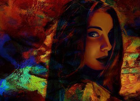 Обои Портрет девушки в цвете на фоне абстрации