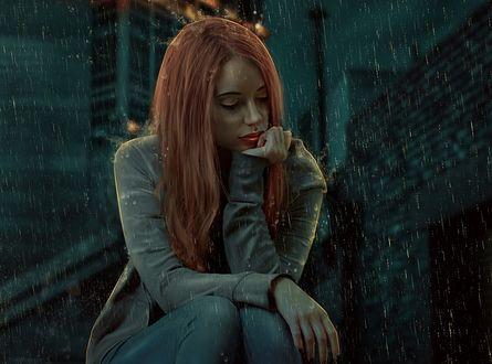 Обои Девушка с длинными волосами сидит под дождем, by ektapinki