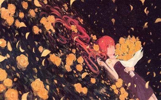 Обои Девушка в окружении желтых роз
