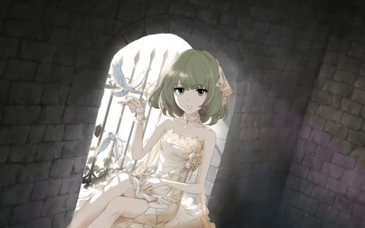 Обои Подобно принцессе, заточенной в каменной башне, Каэде Такагаки / Takagaki Kaede из аниме Идолмастер: Девушки-Золушки / Idolmaster / THE iDOLM@STER: Cinderella Girls сидит у окна, и птички садятся ей на руку