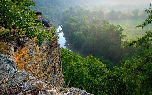 Обои Панорама со скал на реку и леса в штате Теннесси, США