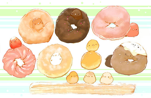 Обои Птички и пончики, by チャイ