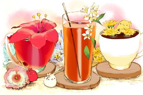 Обои Птички и цветочный чай, by チャイ