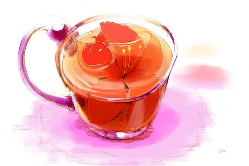 Обои Птичка в кружке с цветочным чаем, by チャイ