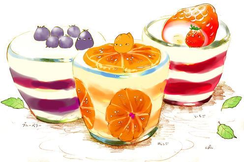 Обои Птички и фруктовый пудинг с желе, by チャイ
