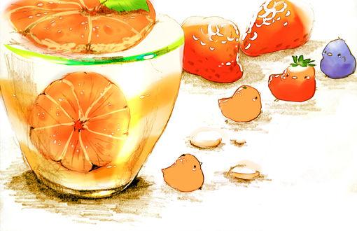 Обои Птички и мандариновый пудинг с желе, by チャイ
