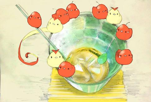 Обои Фруктовые птички сидят на стакане с остатками чая, by チャイ