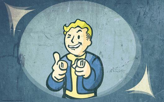 Обои Парень из игры Выпадение радиоактивных осадков / Фоллаут / Fallout, Bethesda, Vault Boy