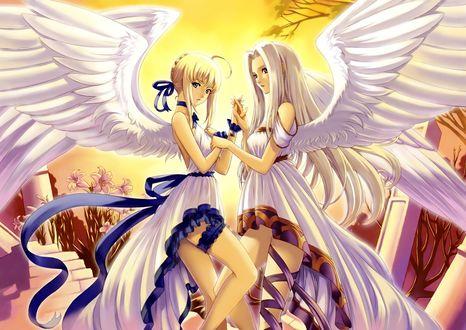 Обои Сейбер / Сэйбер / Saber и Ирисфиль фон Айнцберн / Айрисвиль / Ирисвиль / Irisviel von Einzbern / Айри / Iri из аниме Судьба: начало / Fate / Zero изображены ангелами