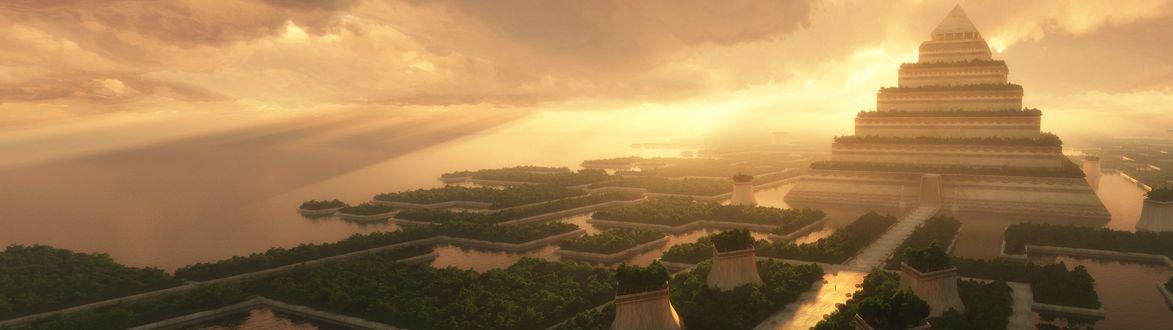 Обои Пирамида с водными каналами и лесами по периметру на фоне предзакатного неба