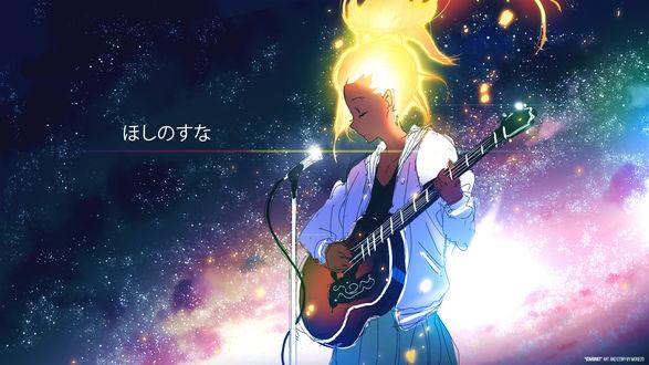 Обои Девушка с гитарой на фоне звездного неба, by moxie2D