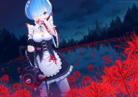 Обои Рем / Rem из аниме Re: Жизнь в альтернативном мире с нуля / Re: Zero kara Hajimeru Isekai Seikatsu, by rimuu