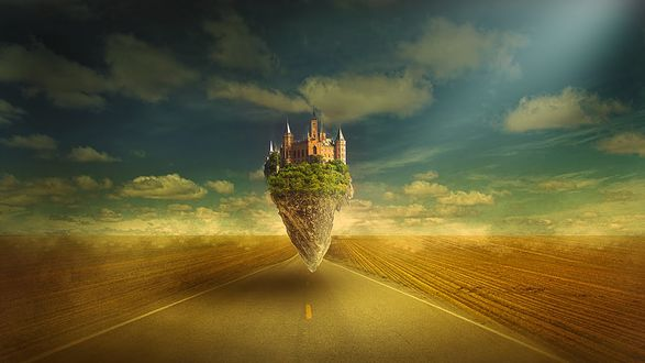 Обои Островок с замком в окружении деревьев в воздухе на фоне дороги неба и облаков