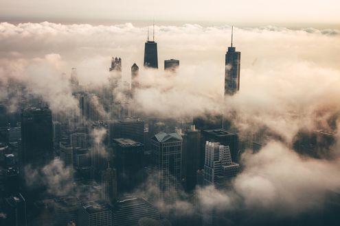Обои Чикаго, окутанный туманом