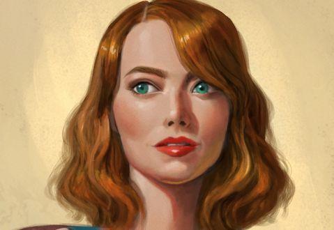 Обои Девушка с голубыми волосами и рыжими глазами, by David Ardinaryas Lojaya