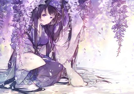 Обои Девушка с лиловом кимоно и кошка, автор Miyuki