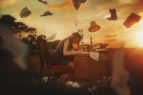 Обои Девушка сидит за столом и пишет письмо, вокруг летают листы, фотограф TJ Drysdale