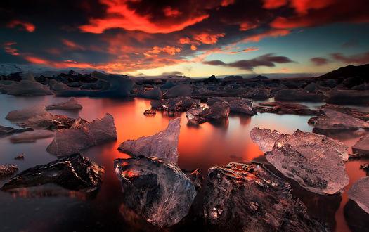 Обои Закат над Jokulsarlon ледники лагуны в Iceland / Исландии, фотограф Iurie Belegurschi