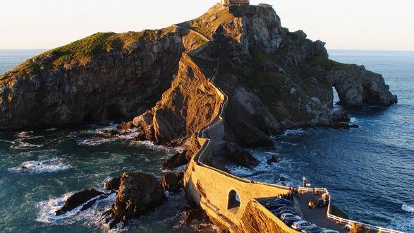 Обои Остров, дорога, мост, море. Испания