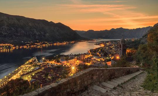 Обои Вечерний Котор — город в Черногории на Balkans / Балканах, by GaL-Lina