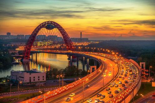 Обои Живописный мост - вантовый мост через Москву-реку, by GaL-Lina
