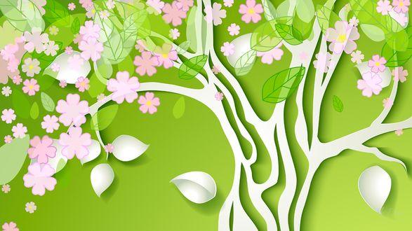 Обои Цветущее дерево, вырезанное из бумаги на нежно-зеленом фоне