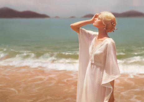 Обои Девушка-блондинка стоит на фоне моря, by GUWEIZ