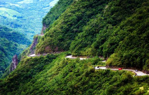Обои Горная дорога вдоль горного хребта, поросшего лесом
