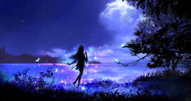 Обои Девушка-эльф стоит на берегу водоема ночью, by 00